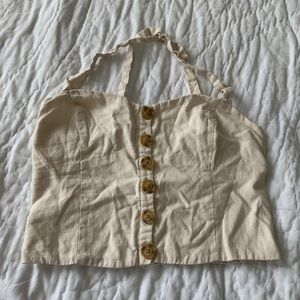 Urban outfitters beige cropped tank with buttons